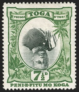 Sale Number 1214, Lot Number 1432, Togo thru ZululandTONGA, 1897, 7-1/2p Green & Black, Inverted Center (47a; SG 48a), TONGA, 1897, 7-1/2p Green & Black, Inverted Center (47a; SG 48a)