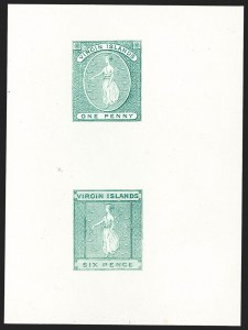 Sale Number 1214, Lot Number 1435, Togo thru ZululandVIRGIN ISLANDS, 1866, 1p and 6p, Se-Tenant Compound Die Proof (1-2; SG 1, 3), VIRGIN ISLANDS, 1866, 1p and 6p, Se-Tenant Compound Die Proof (1-2; SG 1, 3)
