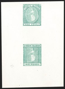 Sale Number 1214, Lot Number 1436, Togo thru ZululandVIRGIN ISLANDS, 1866, 1p and 6p, Se-Tenant Compound Die Proof (1-2; SG 1, 3), VIRGIN ISLANDS, 1866, 1p and 6p, Se-Tenant Compound Die Proof (1-2; SG 1, 3)