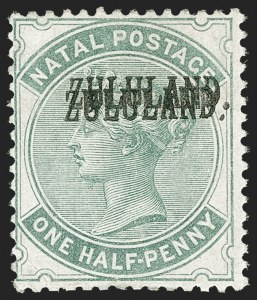 Sale Number 1214, Lot Number 1439, Togo thru ZululandZULULAND, 1888, -1/2p Green, Double Overprint (12b; SG 12a), ZULULAND, 1888, -1/2p Green, Double Overprint (12b; SG 12a)