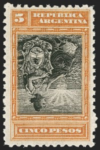 Sale Number 1214, Lot Number 1440, Argentina thru BelgiumARGENTINA, 1899, 5p Orange & Black, Inverted Center (140a), ARGENTINA, 1899, 5p Orange & Black, Inverted Center (140a)