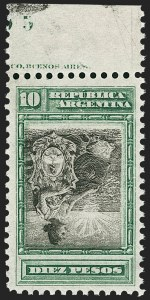 Sale Number 1214, Lot Number 1441, Argentina thru BelgiumARGENTINA, 1899, 10p Green & Black, Inverted Center (141a), ARGENTINA, 1899, 10p Green & Black, Inverted Center (141a)