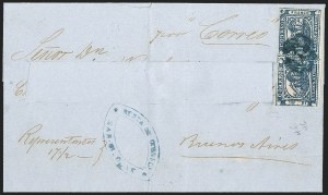 "Sale Number 1214, Lot Number 1442, Argentina thru BelgiumARGENTINA, Buenos Aires, 1859, 1p (""In Ps"") Blue (7), ARGENTINA, Buenos Aires, 1859, 1p (""In Ps"") Blue (7)"