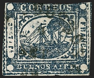 "Sale Number 1214, Lot Number 1444, Argentina thru BelgiumARGENTINA, Buenos Aires, 1859, 1p (""To rs"") Blue (8), ARGENTINA, Buenos Aires, 1859, 1p (""To rs"") Blue (8)"