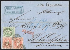 Sale Number 1214, Lot Number 1445, Argentina thru BelgiumAUSTRIA, 1867-72, 3kr Green, 5kr Rose, Ty. II (28-29), AUSTRIA, 1867-72, 3kr Green, 5kr Rose, Ty. II (28-29)
