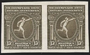 Sale Number 1214, Lot Number 1450, Argentina thru BelgiumBELGIUM, 1920, 5c+5c to 15c+5c Olympics, Imperforate (B48-B50 var; COB 179-181 var), BELGIUM, 1920, 5c+5c to 15c+5c Olympics, Imperforate (B48-B50 var; COB 179-181 var)