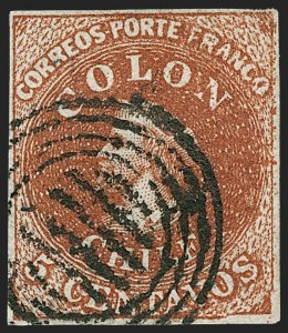 Sale Number 1214, Lot Number 1477, Bulgaria thru ChileCHILE, 1854, 5c Red Brown, Lithograph, Transfer Flaw (7 var), CHILE, 1854, 5c Red Brown, Lithograph, Transfer Flaw (7 var)