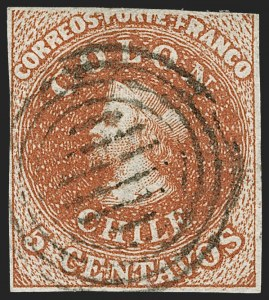 Sale Number 1214, Lot Number 1478, Bulgaria thru ChileCHILE, 1854, 5c Red Brown, Lithograph, Transfer Flaw (7 var), CHILE, 1854, 5c Red Brown, Lithograph, Transfer Flaw (7 var)