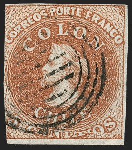 "Sale Number 1214, Lot Number 1480, Bulgaria thru ChileCHILE, 1854, 5c Red Brown, Lithograph, ""Big Squeeze"" Transfer Flaw (7 var), CHILE, 1854, 5c Red Brown, Lithograph, ""Big Squeeze"" Transfer Flaw (7 var)"