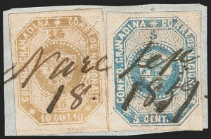 Sale Number 1214, Lot Number 1497, ColombiaCOLOMBIA, 1859, 5c Blue, 10c Buff (2, 4), COLOMBIA, 1859, 5c Blue, 10c Buff (2, 4)