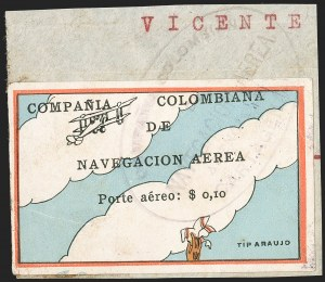 "Sale Number 1214, Lot Number 1517, Colombia - Air Post IssuesCOLOMBIA, 1920, 10c ""SCADTA"", Clouds and Small Biplane at Top (C3), COLOMBIA, 1920, 10c ""SCADTA"", Clouds and Small Biplane at Top (C3)"
