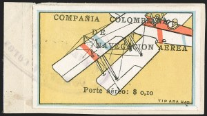"Sale Number 1214, Lot Number 1518, Colombia - Air Post IssuesCOLOMBIA, 1920, 10c ""SCADTA"", Tilted Plane Viewed Close-Up from Above (C4), COLOMBIA, 1920, 10c ""SCADTA"", Tilted Plane Viewed Close-Up from Above (C4)"