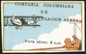 "Sale Number 1214, Lot Number 1519, Colombia - Air Post IssuesCOLOMBIA, 1920, 10c ""SCADTA"", Flier in Plane Watching Biplane (C5), COLOMBIA, 1920, 10c ""SCADTA"", Flier in Plane Watching Biplane (C5)"