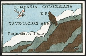 "Sale Number 1214, Lot Number 1520, Colombia - Air Post IssuesCOLOMBIA, 1920, 10c ""SCADTA"", Condor on Cliff (C8), COLOMBIA, 1920, 10c ""SCADTA"", Condor on Cliff (C8)"