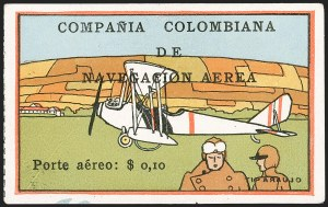 "Sale Number 1214, Lot Number 1521, Colombia - Air Post IssuesCOLOMBIA, 1920, 10c ""SCADTA"", Plane at Rest and Pilot Foreground (C9), COLOMBIA, 1920, 10c ""SCADTA"", Plane at Rest and Pilot Foreground (C9)"