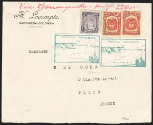 Sale Number 1214, Lot Number 1523, Colombia - Air Post IssuesCOLOMBIA, 1920, 10c Green, Air Post - March 6, 1920, Third Flight (C11; Sanabria 11), COLOMBIA, 1920, 10c Green, Air Post - March 6, 1920, Third Flight (C11; Sanabria 11)