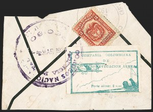 Sale Number 1214, Lot Number 1524, Colombia - Air Post IssuesCOLOMBIA, 1920, 10c Green, Air Post - March 6, 1920, Third Flight (C11; Sanabria 11), COLOMBIA, 1920, 10c Green, Air Post - March 6, 1920, Third Flight (C11; Sanabria 11)
