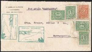 Sale Number 1214, Lot Number 1525, Colombia - Air Post IssuesCOLOMBIA, 1920, 10c Green, Air Post - March 11, 1920 Flight (C11; Sanabria 11), COLOMBIA, 1920, 10c Green, Air Post - March 11, 1920 Flight (C11; Sanabria 11)