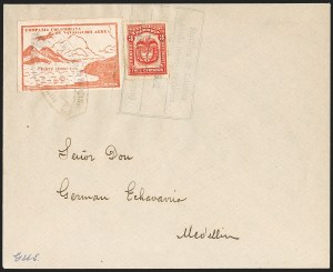 Sale Number 1214, Lot Number 1529, Colombia - Air Post IssuesCOLOMBIA, 1920, 10c Red Brown, Air Post - April 16, 1922 Flight (C11C; Sanabria 16), COLOMBIA, 1920, 10c Red Brown, Air Post - April 16, 1922 Flight (C11C; Sanabria 16)