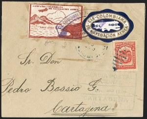 Sale Number 1214, Lot Number 1532, Colombia - Air Post IssuesCOLOMBIA, 1920, 20c on 10c Air Post, Typewritten Surcharge (C11F; Sanabria 26), COLOMBIA, 1920, 20c on 10c Air Post, Typewritten Surcharge (C11F; Sanabria 26)