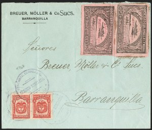 Sale Number 1214, Lot Number 1534, Colombia - Air Post IssuesCOLOMBIA, 1920, 30c Black on Rose, Air Post - Apr. 29, 1921 Experimental Flight (C14), COLOMBIA, 1920, 30c Black on Rose, Air Post - Apr. 29, 1921 Experimental Flight (C14)