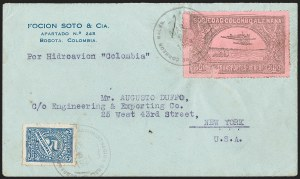 Sale Number 1214, Lot Number 1535, Colombia - Air Post IssuesCOLOMBIA, 1920, 30c Black on Rose, Air Post - Mar. 2, 1921 Experimental Flight (C14), COLOMBIA, 1920, 30c Black on Rose, Air Post - Mar. 2, 1921 Experimental Flight (C14)