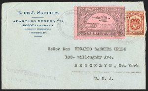 Sale Number 1214, Lot Number 1536, Colombia - Air Post IssuesCOLOMBIA, 1920, 30c Black on Rose, Air Post - Aug. 19, 1921 Experimental Flight (C14), COLOMBIA, 1920, 30c Black on Rose, Air Post - Aug. 19, 1921 Experimental Flight (C14)