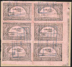 Sale Number 1214, Lot Number 1537, Colombia - Air Post IssuesCOLOMBIA, 1920-21, 30c Black on Rose and 30c Rose (C14-C15), COLOMBIA, 1920-21, 30c Black on Rose and 30c Rose (C14-C15)