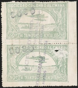 "Sale Number 1214, Lot Number 1539, Colombia - Air Post IssuesCOLOMBIA, 1921, ""$030"" on 50c Pale Green, Air Post Surcharge (Colomphil 9; Scott C23), COLOMBIA, 1921, ""$030"" on 50c Pale Green, Air Post Surcharge (Colomphil 9; Scott C23)"