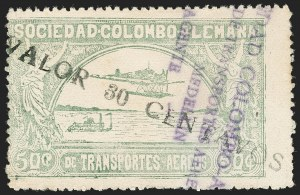 "Sale Number 1214, Lot Number 1540, Colombia - Air Post IssuesCOLOMBIA, 1921, 10c on 50c Pale Green, Type ""b"", small ""A"" (Colomphil 21a; C20 var), COLOMBIA, 1921, 10c on 50c Pale Green, Type ""b"", small ""A"" (Colomphil 21a; C20 var)"