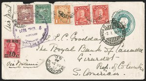 Sale Number 1214, Lot Number 1544, Colombia - Air Post IssuesCOLOMBIA, Consular Mail - Canada, December 1930 Three-Country Franking, COLOMBIA, Consular Mail - Canada, December 1930 Three-Country Franking