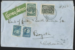 "Sale Number 1214, Lot Number 1546, Colombia - Air Post IssuesCOLOMBIA, Consular Overprints - Great Britain, 1923, 50c Green, Inverted Violet ""GB"" Overprint (CLGB34 var), COLOMBIA, Consular Overprints - Great Britain, 1923, 50c Green, Inverted Violet ""GB"" Overprint (CLGB34 var)"