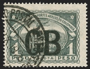 Sale Number 1214, Lot Number 1547, Colombia - Air Post IssuesCOLOMBIA, Consular Overprints - Great Britain, 1923, 1p Black, Double Impression of Basic Stamp (CLGB58a), COLOMBIA, Consular Overprints - Great Britain, 1923, 1p Black, Double Impression of Basic Stamp (CLGB58a)