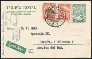 Sale Number 1214, Lot Number 1548, Colombia - Air Post IssuesCOLOMBIA, Consular Mail - Mexico, 1926 SCADTA Postal Card to Bogota, COLOMBIA, Consular Mail - Mexico, 1926 SCADTA Postal Card to Bogota