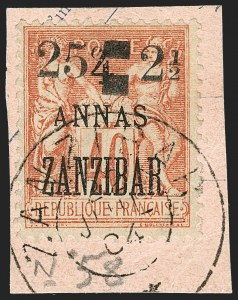 Sale Number 1214, Lot Number 1573, French Offices AbroadFRANCE, Offices in Zanzibar, 1904,  25c on 2-1/2a on 4a on 40c Red on Straw (50; Yvert 58), FRANCE, Offices in Zanzibar, 1904,  25c on 2-1/2a on 4a on 40c Red on Straw (50; Yvert 58)