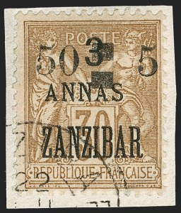 Sale Number 1214, Lot Number 1574, French Offices AbroadFRANCE, Offices in Zanzibar, 1904, 50c on 5a on 3a on 30c Brown on Bister (51; Yvert 59), FRANCE, Offices in Zanzibar, 1904, 50c on 5a on 3a on 30c Brown on Bister (51; Yvert 59)