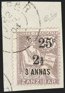Sale Number 1214, Lot Number 1575, French Offices AbroadFRANCE, Offices in Zanzibar, 1904, 25c & 2-1/2a on 3a on 30c Lilac (57; Yvert 65), FRANCE, Offices in Zanzibar, 1904, 25c & 2-1/2a on 3a on 30c Lilac (57; Yvert 65)