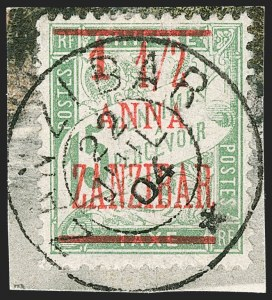 Sale Number 1214, Lot Number 1576, French Offices AbroadFRANCE, Offices in Zanzibar, 1904, 1-1/2a on 15c Green (62; Yvert 70), FRANCE, Offices in Zanzibar, 1904, 1-1/2a on 15c Green (62; Yvert 70)