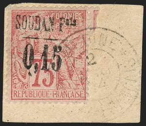 Sale Number 1214, Lot Number 1598, French Colonies - French Polynesia thru ObockFRENCH SUDAN, 1894, 15c on 75c Carmine on Rose (1; Yvert 1), FRENCH SUDAN, 1894, 15c on 75c Carmine on Rose (1; Yvert 1)