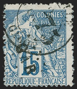 Sale Number 1214, Lot Number 1600, French Colonies - French Polynesia thru ObockGABON, 1886, 75c on 15c Blue (5; Yvert 5), GABON, 1886, 75c on 15c Blue (5; Yvert 5)