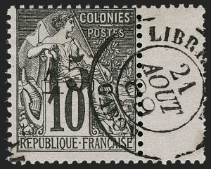 Sale Number 1214, Lot Number 1601, French Colonies - French Polynesia thru ObockGABON, 1888, 15c on 10c Black on Lavender (6; Yvert 6), GABON, 1888, 15c on 10c Black on Lavender (6; Yvert 6)
