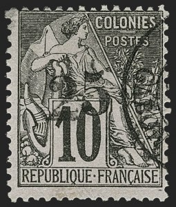 Sale Number 1214, Lot Number 1603, French Colonies - French Polynesia thru ObockGABON, 1888, 25c on 10c Black on Rose (9; Yvert 9), GABON, 1888, 25c on 10c Black on Rose (9; Yvert 9)