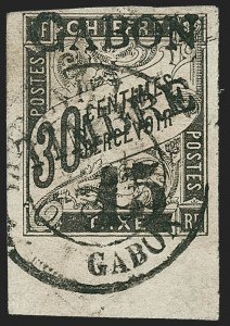 Sale Number 1214, Lot Number 1604, French Colonies - French Polynesia thru ObockGABON, 1889, 15c on 30c Black (12; Yvert 12), GABON, 1889, 15c on 30c Black (12; Yvert 12)