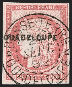 Sale Number 1214, Lot Number 1606, French Colonies - French Polynesia thru ObockGUADELOUPE, 1891, 80c Carmine on Pinkish (13; Yvert 13), GUADELOUPE, 1891, 80c Carmine on Pinkish (13; Yvert 13)