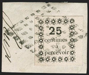 Sale Number 1214, Lot Number 1607, French Colonies - French Polynesia thru ObockGUADELOUPE, 1876, 25c Black, Postage Due (J1; Yvert TT1), GUADELOUPE, 1876, 25c Black, Postage Due (J1; Yvert TT1)
