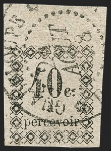 Sale Number 1214, Lot Number 1608, French Colonies - French Polynesia thru ObockGUADELOUPE, 1876, 40c Black, Postage Due (J3; Yvert TT3), GUADELOUPE, 1876, 40c Black, Postage Due (J3; Yvert TT3)