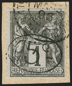 Sale Number 1214, Lot Number 1611, French Colonies - French Polynesia thru ObockMADAGASCAR, 1896, 5c on 1c Black on Blue (23; Yvert 23), MADAGASCAR, 1896, 5c on 1c Black on Blue (23; Yvert 23)