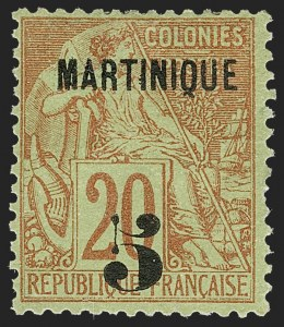 Sale Number 1214, Lot Number 1614, French Colonies - French Polynesia thru ObockMARTINIQUE, 1886, 5c on 20c Red on Green, Wide Surcharge (Yvert 1A), MARTINIQUE, 1886, 5c on 20c Red on Green, Wide Surcharge (Yvert 1A)