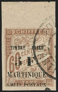 Sale Number 1214, Lot Number 1615, French Colonies - French Polynesia thru ObockMARTINIQUE, 1903, 5fr on 60c Brown on Buff, Parcel Post (Q1; Yvert 60), MARTINIQUE, 1903, 5fr on 60c Brown on Buff, Parcel Post (Q1; Yvert 60)