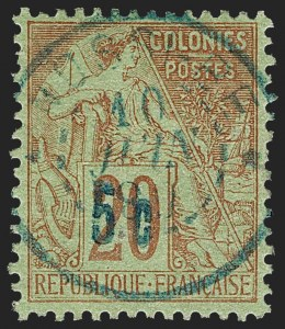 Sale Number 1214, Lot Number 1620, French Colonies - French Polynesia thru ObockNOSSI-BE, 1889, 5c on 20c Red on Green (4; Yvert 9), NOSSI-BE, 1889, 5c on 20c Red on Green (4; Yvert 9)